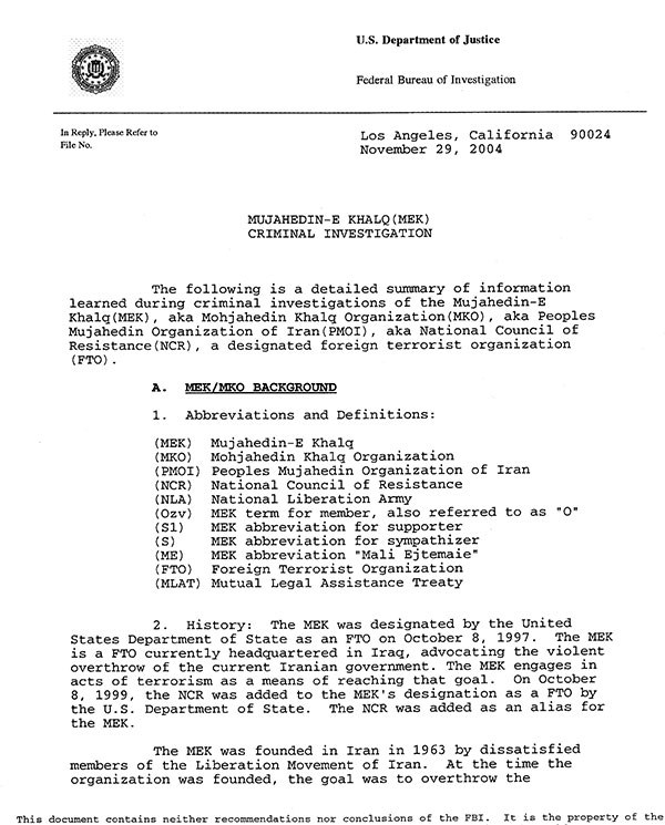 2004 FBI report on MEK