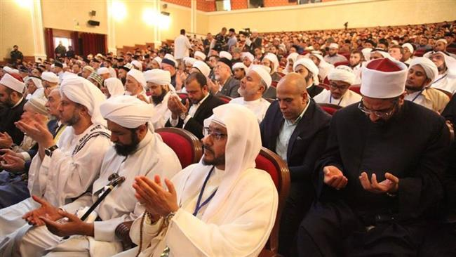 Photo shows Sunni Muslim scholars attending a gathering in the city of Grozny, Chechnya.