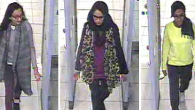 Left to right: Kadiza Sultana, Shamima Begum, and Amira Abase arrive at Gatwick airport to travel to Turkey to join Daesh in March 2015.